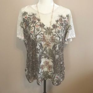 Dressbarn floral top with cinched sides